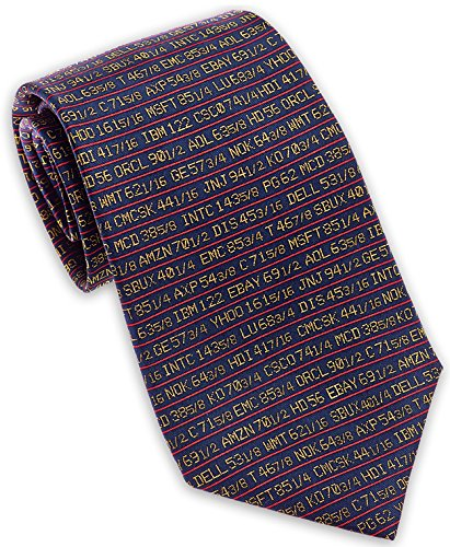 Josh Bach Men's Stock Ticker - Wall Street Silk Necktie Blue. Made in USA