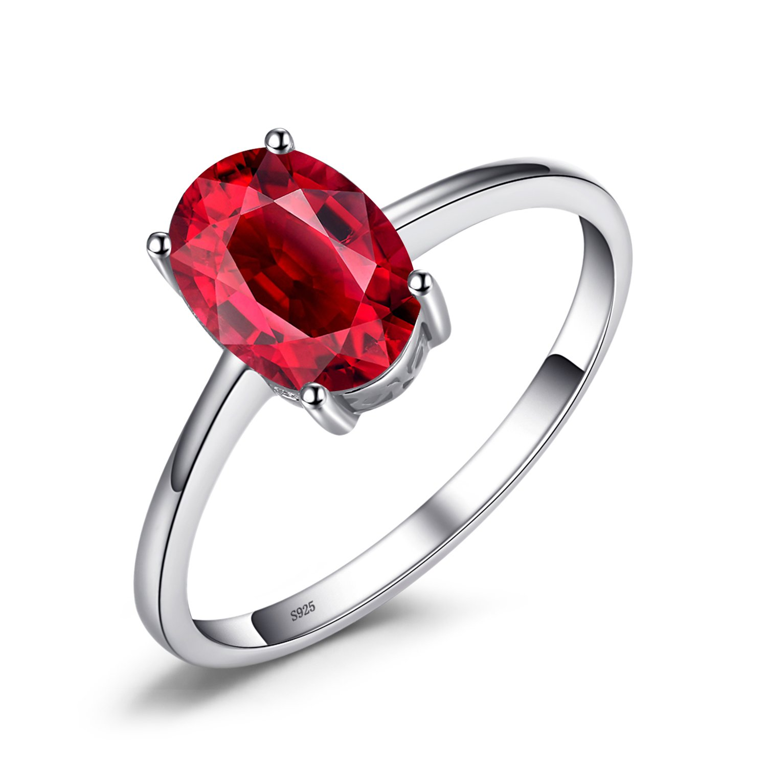 JewelryPalace Oval 1.7ct Natural Red Garnet Birthstone Solitaire Ring Genuine 925 Sterling Silver Size 8