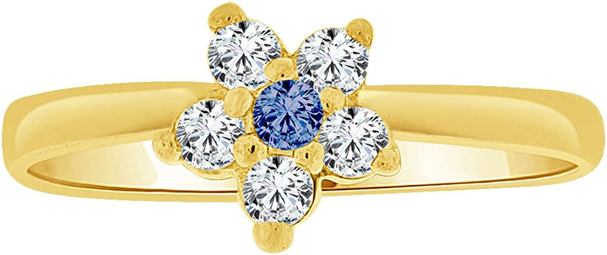 14k Yellow Gold Small Flower Ring Cluster Created Blue CZ Crystals