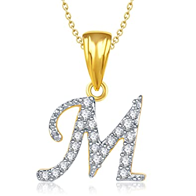 0388c20b2 Buy Amaal Valentine Gifts Gold American Diamond Alphabet Letter  M  Pendant  for Women Girls Men with Chain PS0135 Online at Low Prices in India