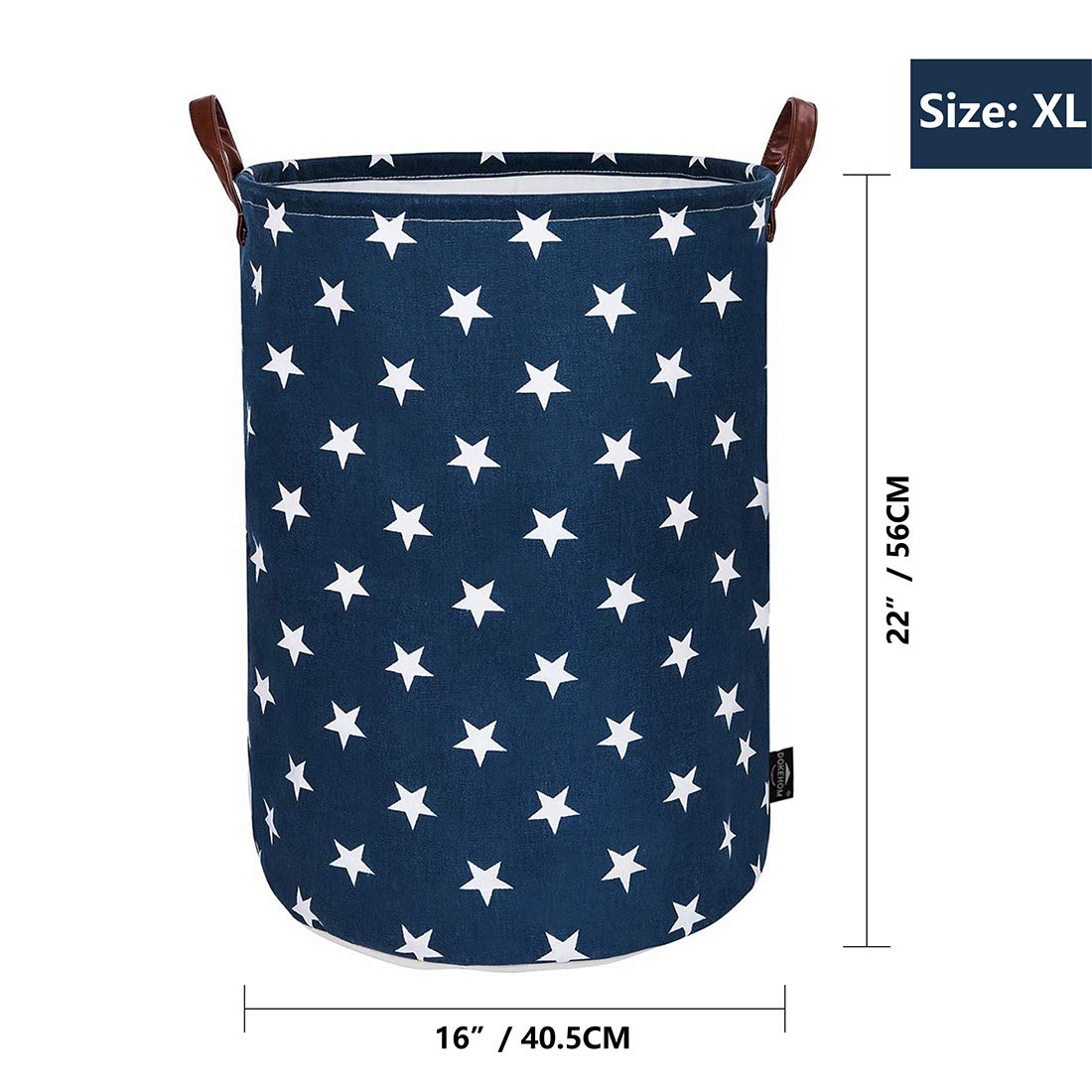 90cf28875879 DOKEHOM 22-Inches Thickened X-Large Laundry Basket (9 Colors) with Durable  Leather Handle, Drawstring Waterproof Round Cotton Linen Collapsible ...