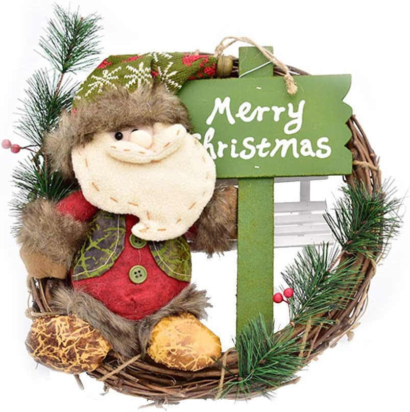 ZeeDix 12.9 inch/33cm Christmas Wreath - Merry Christmas Wreath with Cute Santa Front Door Wreaths Hanger for Home Kitchen Wall Window Hall Decor