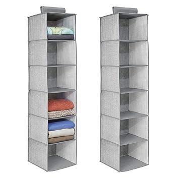 mDesign organizador de armarios con 6 compartimentos - Organizador de tela para colgar - Colgador de
