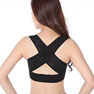 ANGTUO Lady Womens Chest Breast Support Belt Band Posture Corrector Brace Body Sculpting Strap Back Shoulder Vest X Type Pattern