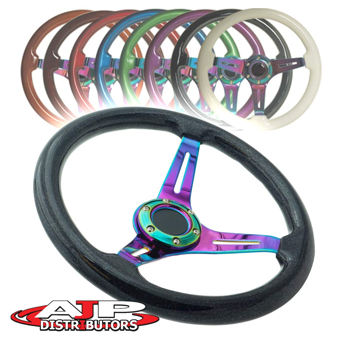 AJP Distributor Universal 345mm 6 Bolt Hole Deep Dish Streak Style Neo Chrome Center Wood Grain Trim Handle Steering Wheel Blank Horn Button JDM Euro VIP Racing Track Drift Drag Metallic Black