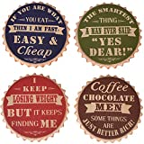 """NIKKY HOME Funny Beer Bottle Cap Absorbent Coasters for Drinks, 4"""" x 4"""", Set of 4, Colorful"""