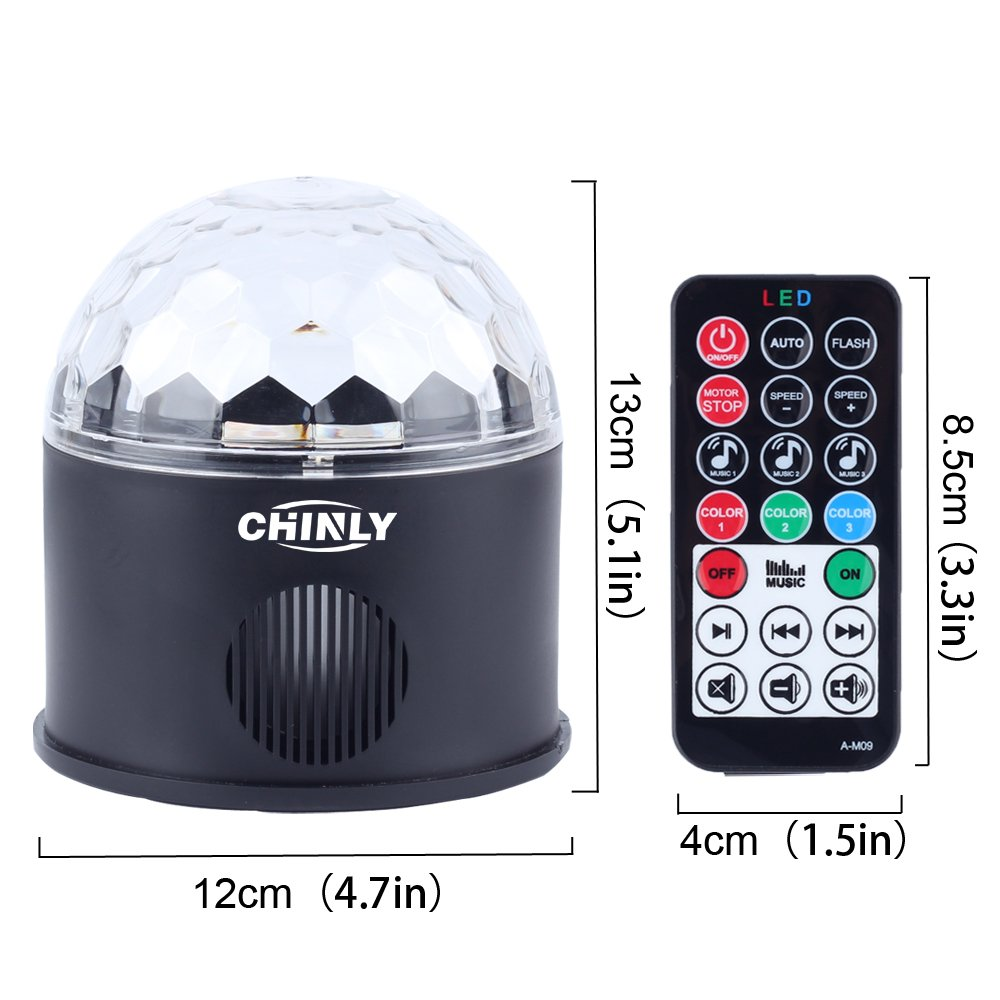 CHINLY LED Disco Ball Light MP3 Music Bluetooth Speaker USB Portable 9W 9color Modes Dance Hall Strobe Light Mini LED Stage Light Party Light for Wedding Party Bar Club DJ KTV (with Remote & US Plug) by CHINLY (Image #7)