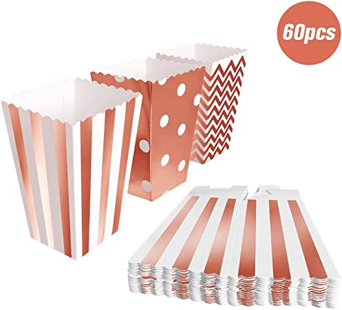 BangShou 60pcs Cajas de Palomitas Cartón Caramelo Contenedor Cine Pequeñas Cajas de Palomitas de Maíz 12 x 7.5cm (Oro rosa): Amazon.es: Hogar