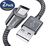 Micro USB Cable Android, JSAUX(2-Pack 6.6FT) Micro USB to USB A High Speed Sync Charger Nylon Braided Cord Samsung Galaxy S6 S7 Edge J7 Note 5,Kindle,LG,Xbox,PS4,Camera,Smartphones More(Grey)