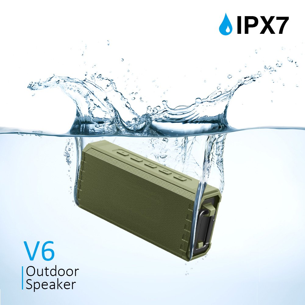 Bluetooth Speaker Portable Waterproof Outdoor IPX7 20W Hcman Wireless Speaker Enhanced Bass Sound, 24-Hour Playtime, Built in Mic, TF Card, Auto Off, Durable Design for Party, Travel (Black)
