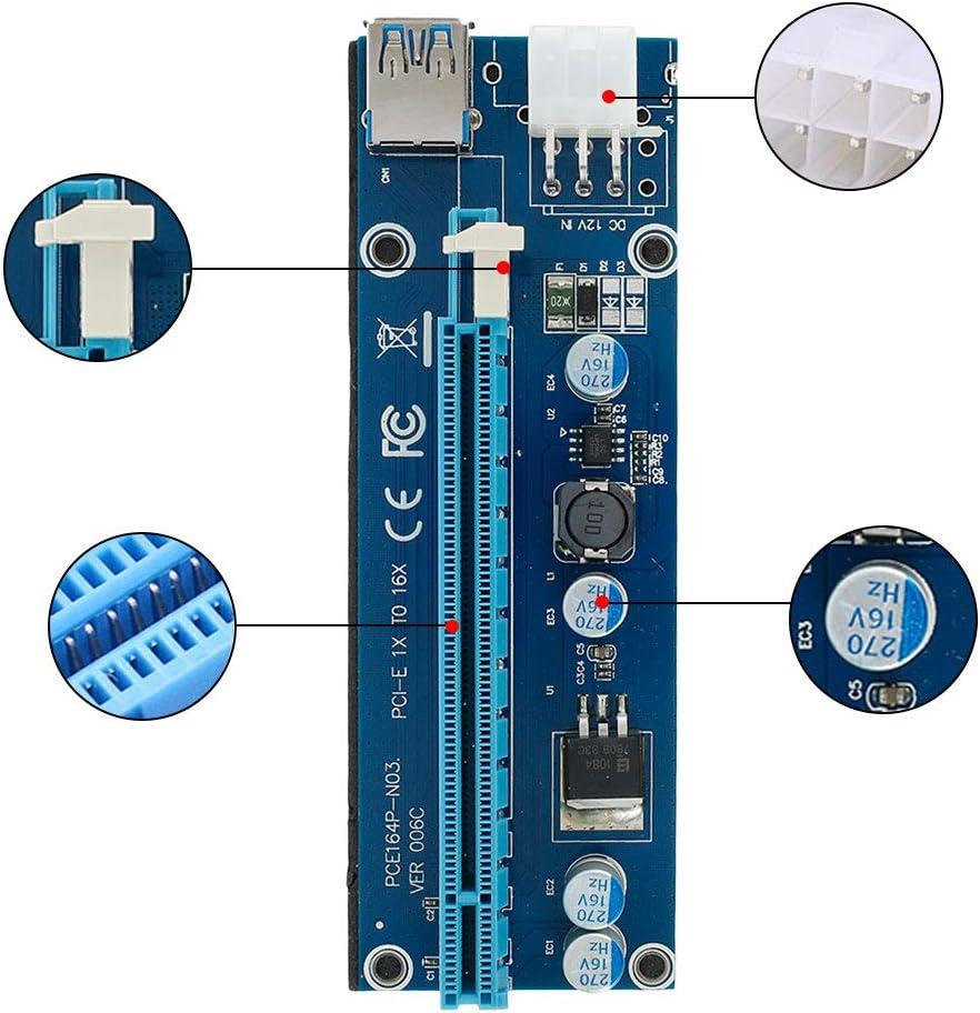 6PCS 6 Pin PCI-E 1X 2X 4X 8X 16X Carte dadaptateur de Riser Amplifi/ée et C/âble dextension USB 3,0 et 6pin au c/âble dalimentation SATA et Adaptateur de Riser GPU,Carte Graphique Express Mining ETH