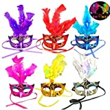Tinksky 6 Pack Led Feather Mask Mardi Gras Masquerade Party Feather LED Masks Halloween Costume