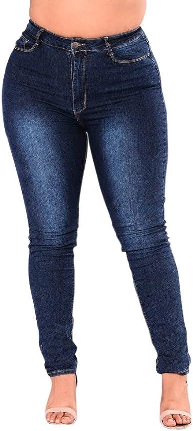Vaqueros Mujer Elasticos Tallas Grandes, Pantalones Mezclilla ...
