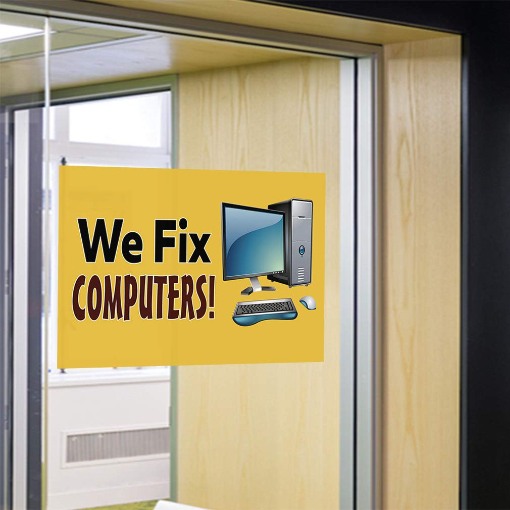 52inx34in Set of 2 Decal Sticker Multiple Sizes We Fix Computers Business pc Repair Outdoor Store Sign Yellow