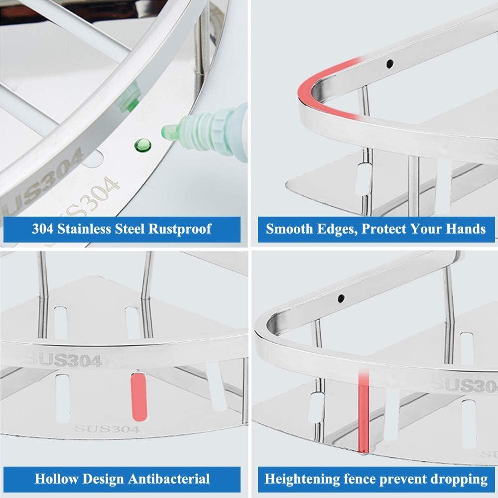 Topmail Bathroom Corner Shelf Shower Caddy Basket SUS304 Stainless Steel Triangular Tub Wall Mount Polished Finish 31*22*7cm Triangle