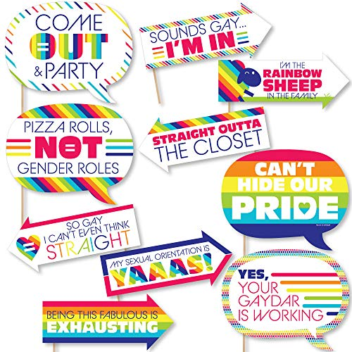 Funny Love is Love - Gay Pride - LGBTQ Rainbow Party Photo Booth Props Kit - 10 Piece]()