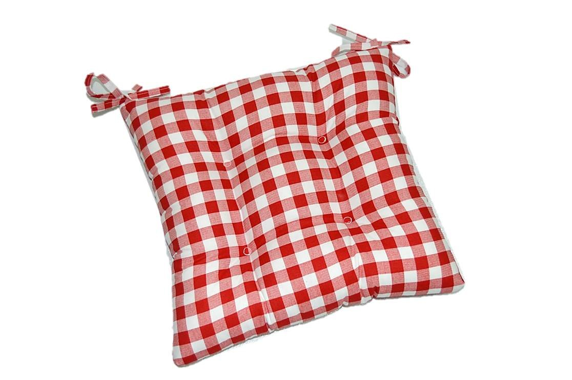 Indoor Cotton Red and White Plaid Country Checkerboard / Checkered Universal Tufted Cushion with Ties for Dining / Kitchen Chair - Choose Size (18''w x 18''d)