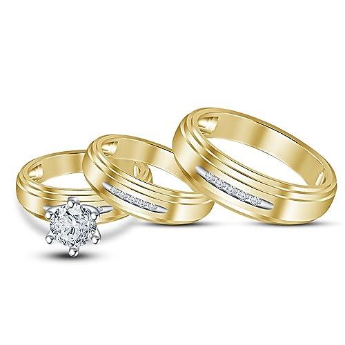 Vorra Fashion Juego de anillos de plata de ley 925 bañados en oro de 14 K