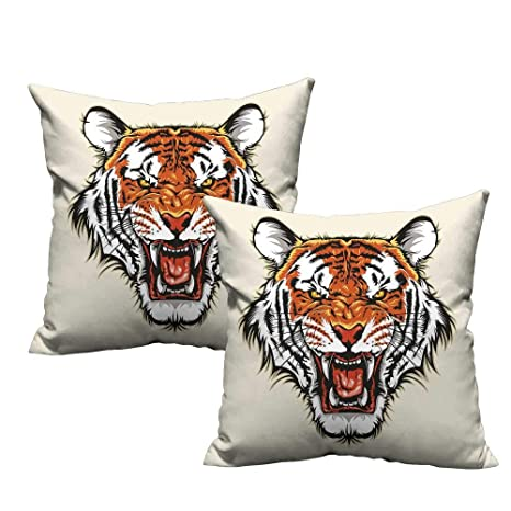 Tiger - Funda para cojín lumbar, cuadrada, diseño antiguo de ...