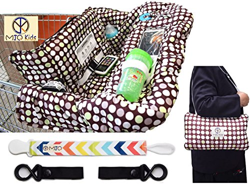 [MJQ Kids Shopping Cart Cover and 2-in-1 Zip Up High Chair Cover for Baby or Toddler with eBook 2 Stroller Hooks and Pacifier Clip A High Quality Machine Washable Unisex Polka Dot Design] (Sunshine Kids Child Harness)