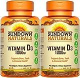 Sundown Naturals High Potency Vitamin D3, 1000 IU, 400 Softgels (Pack of 2) Total 800