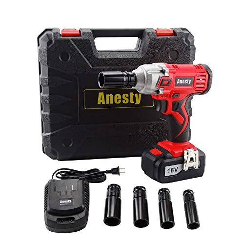 Anesty Impact Wrench, 240Nm High Torque Cordless Compact Wrench 18V 3000mAh Lithium-Ion Power Lug Nuts Impact Wrench 1 2 Inch Drive with 4 Socket and One 1 2 Square Drive to 1 4 Hex Adapter