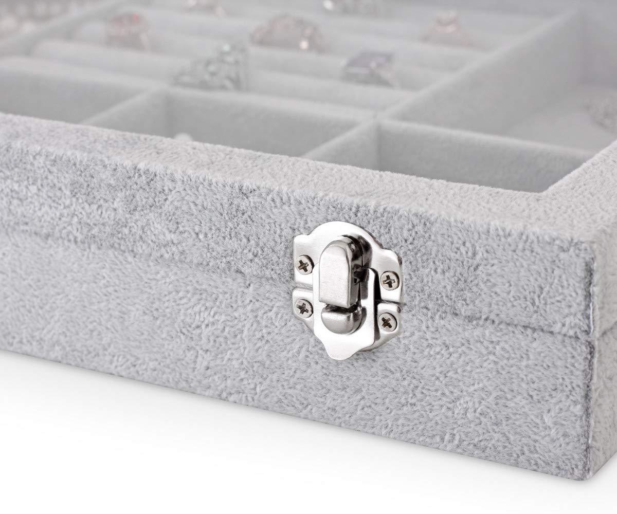 Light Grey YIWU Jewelry Box Organizer for Girls and Women with Glass Lid