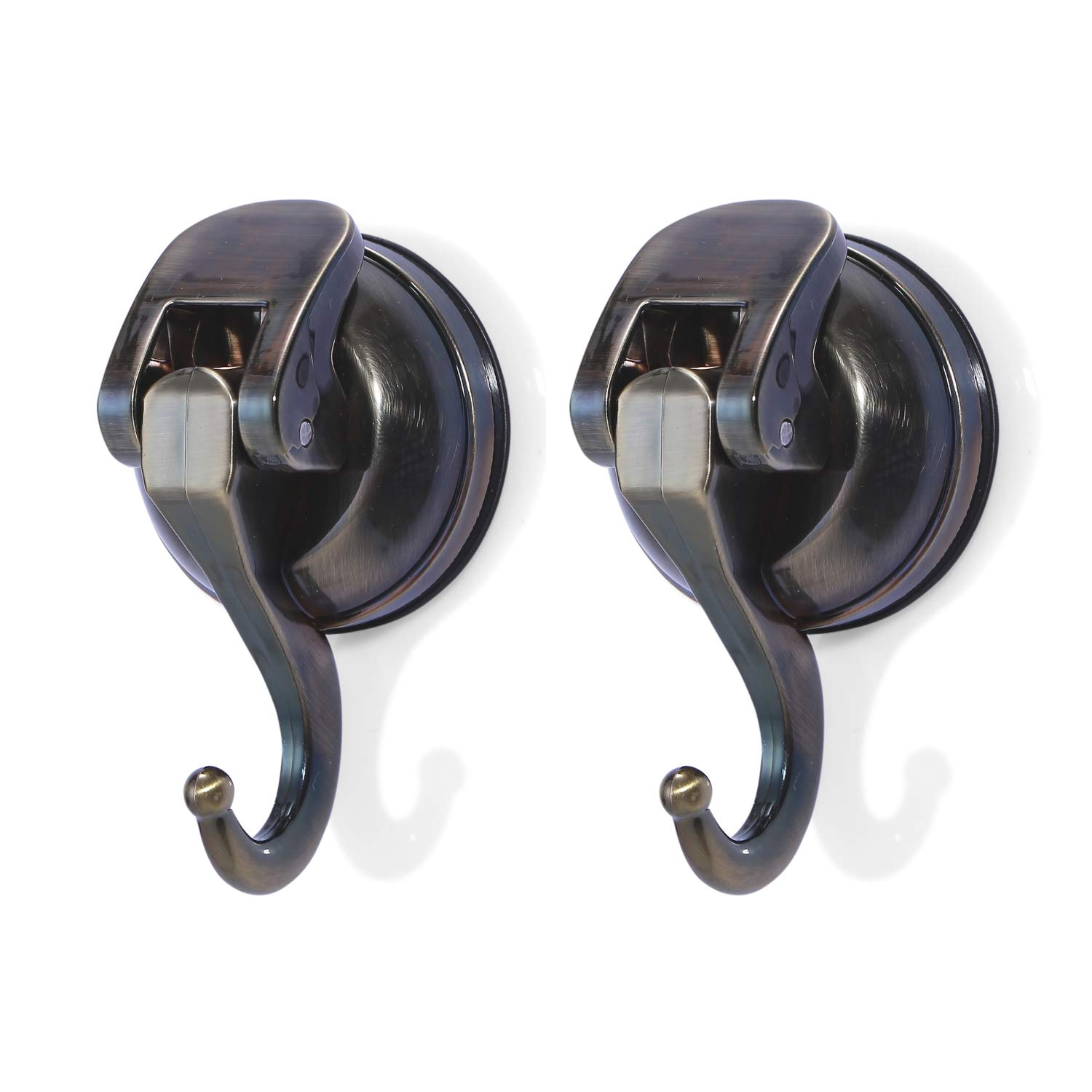 Togu TG-PB57-L02-AB ABS Vacuum Thick Rubber Suction Cup Hooks,Removable Heavy Duty Suction Hooks,as Cup Holder,Towel/Coat/hat/Handbag Hook/Holder,Bathroom Organizer/Storage, Antique Bronze,2pack by Togu