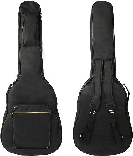 Funda de Guitarra Universal Estuche de Transporte 41 Pulgadas Resistente al Agua Paño Oxford con 2 bolsillos para Guitarra Acústica, Clásica y Eléctrica - Negro: Amazon.es: Instrumentos musicales