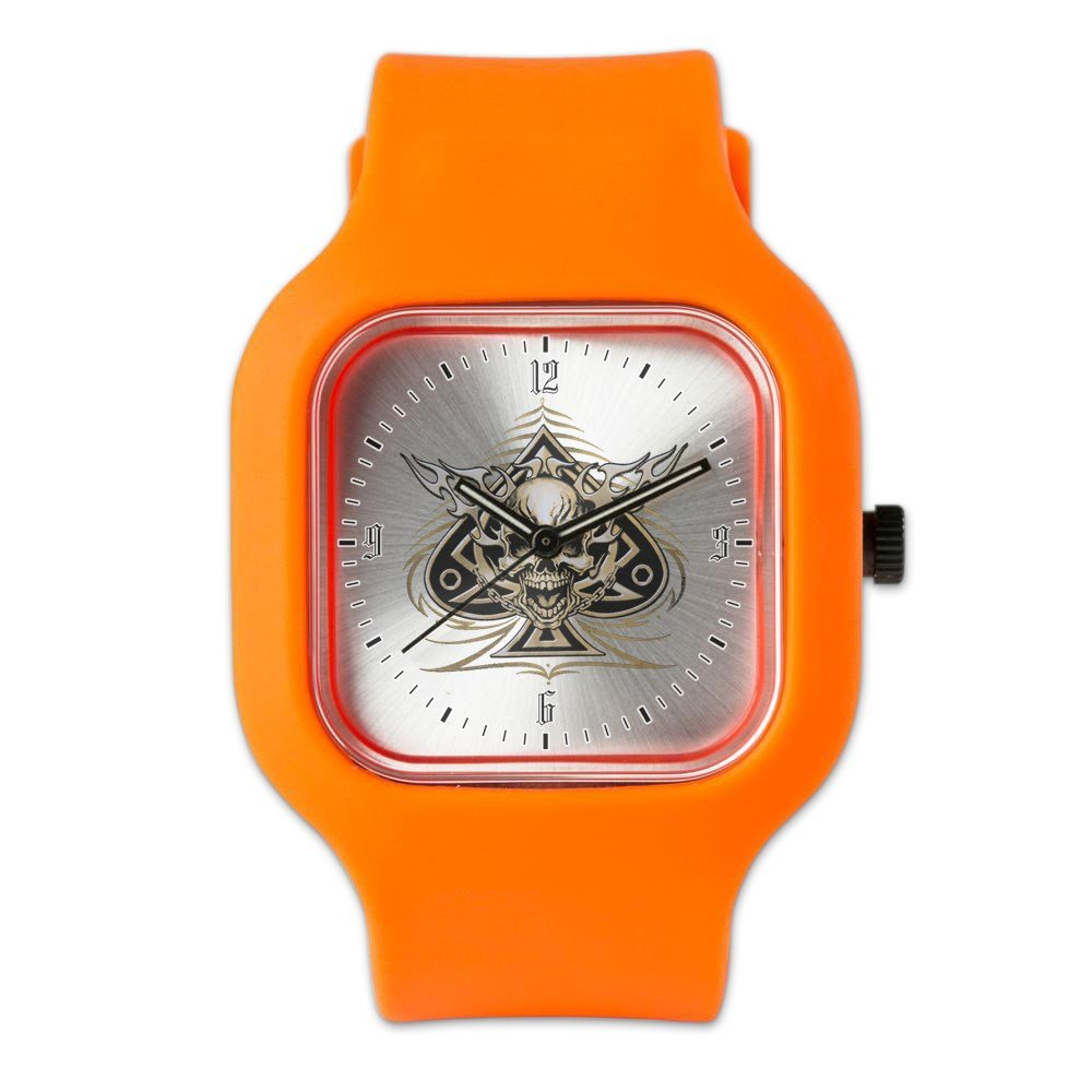 Orange Fashion Sport Watch Skull Spade Chains and Flames