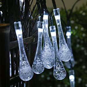 RSHOWER LED Solar String Light, 19ft 30 LED Outdoor Fairy Light with Shape of Waterdrop/Teardrop/Raindrop Lighting Decor for Home Garden, Patio, Christmas, Wedding, Party (White)