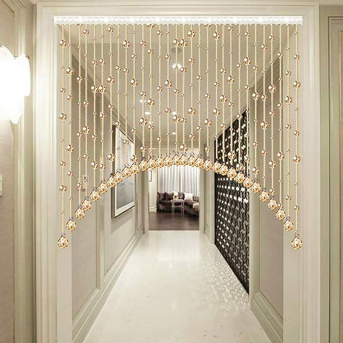 GuoWei Arco Forma Cortinas de Cuentas Cristal Vaso para Puerta Espacio Decoración Tabique Salón Dormitorio Armario Colgando Cuerdas, Personalizable (Color : A, Size : 35 strands-140cmx90cm): Amazon.es: Hogar