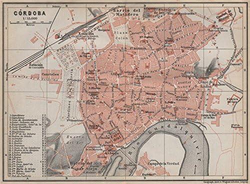Córdoba Córdoba Cordoba Town City Ciudad Plan. España Mapa Old ...