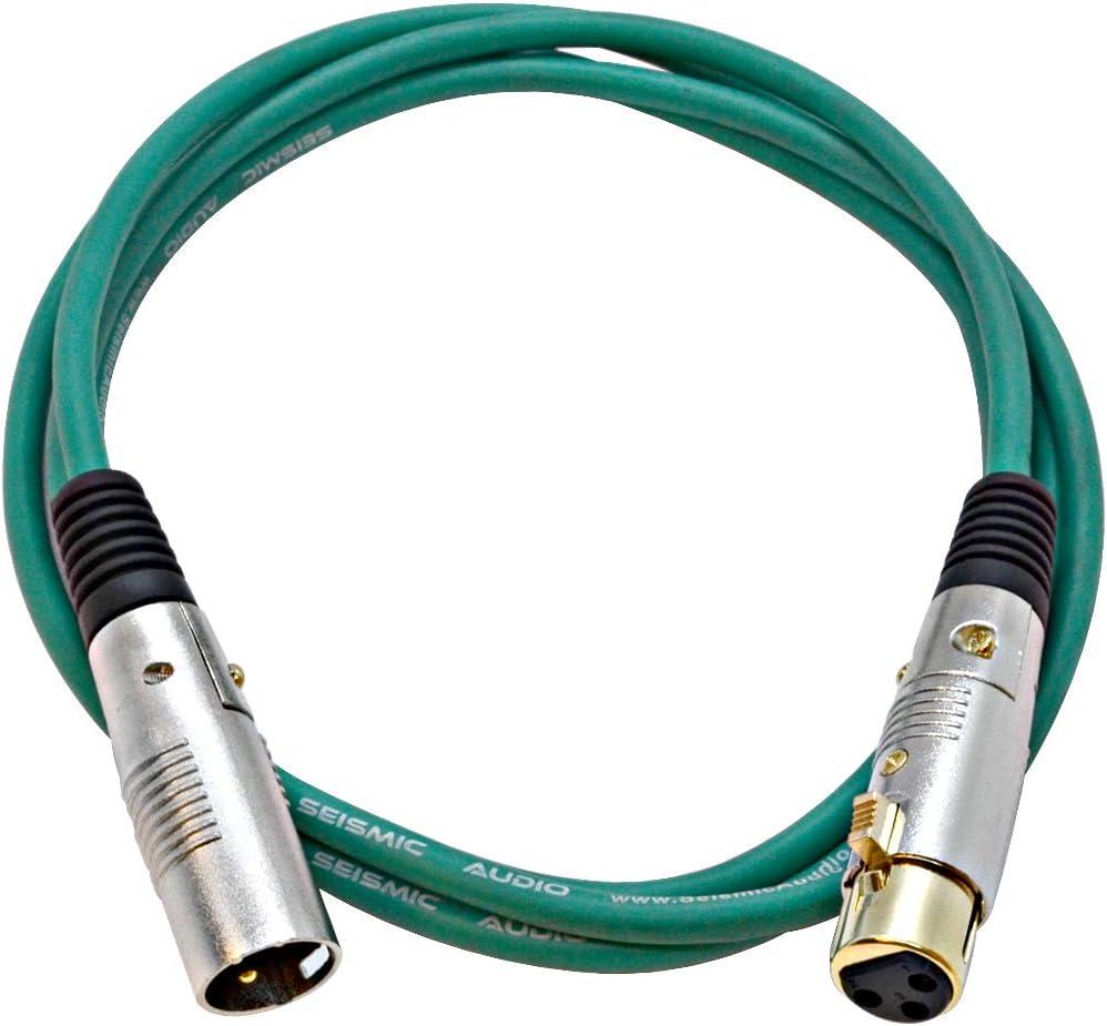 Seismic Audio Premium 6 Foot Green XLR Patch Cable 3 Pin XLRF to XLRM Mic Cord, SAPGX-6Green