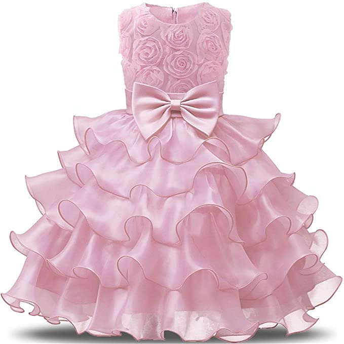 Amazon.com: Niyage Girls Party Dress Princess Flowers Ruffles Lace ...