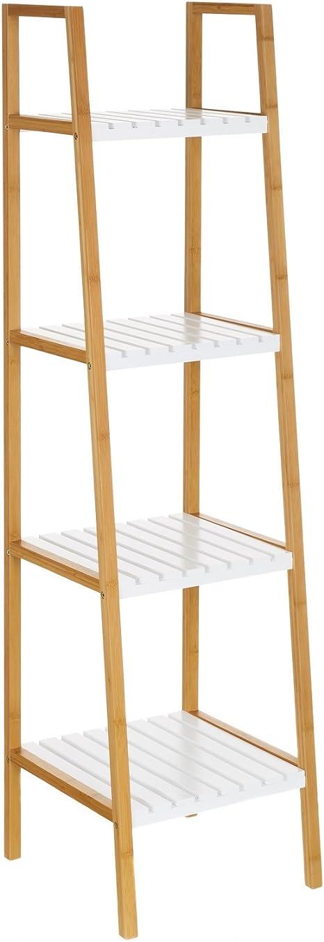 Lola Derek - Estantería de 4 baldas nórdica Blanca de bambú para baño Basic