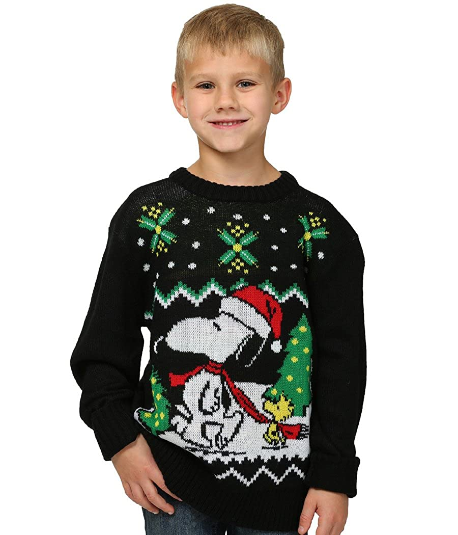 Animation Shops Peanuts Snoopy Ugly Christmas Youth Sweater Blue Star