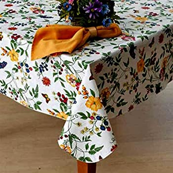 Charming Enchanted Garden Flannel Backed Vinyl Tablecloth Indoor Outdoor 70 Inch  Round