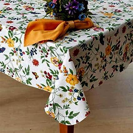 Delicieux Lintex Enchanted Garden Flannel Backed Vinyl Tablecloth Indoor Outdoor 70 Inch  Round