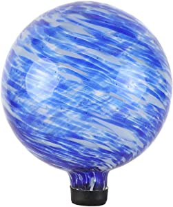 Lily's Home Glass Gazing Ball, A Colorful Addition to Any Garden or Home, Ideal As a Housewarming Gift. 10 Inch (Calming Water)