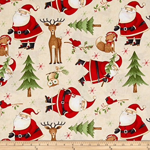 Wilmington Prints Debbie Mum Santa And Friends Santa & Woodland Friends Toss Ivory Fabric By The Yard