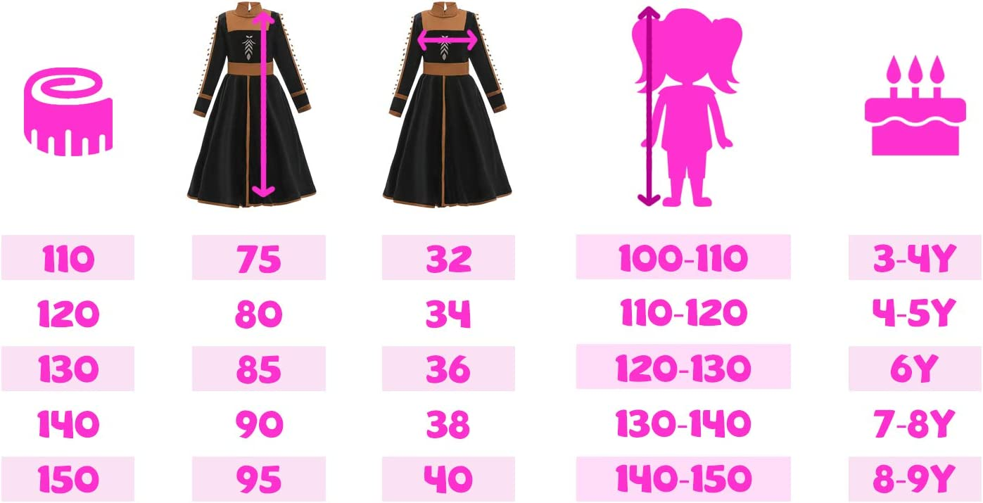 O/³ Anna Princesa Vestido 5 Tama/ños Disfraz de Princesa Anna Anna 110 110-150 cm