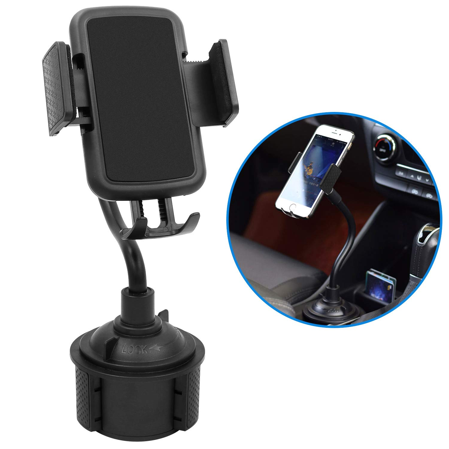 Car Cup Holder Phone Mount Adjustable Portable Gooseneck car Phone Holder for iPhone Xs/Max/X/XR/8/8 Plus,Samsung Note 9/ S10+/ S9/ S9+/ S8 by TDTOK