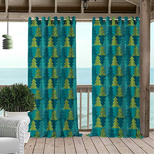 Linhomedecor Patio Waterproof Curtain Christmas Fir Trees Different Patterns Dots Stars and Plaid Design Geometric Motifs Multicolor Porch Grommet Printed Curtains 96 by 72 inch