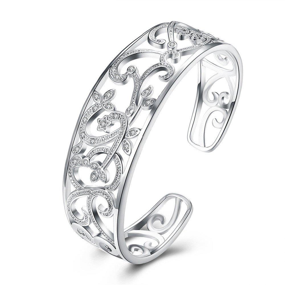 925 Sterling Silver Filigree Cuff Bracelet, 7''