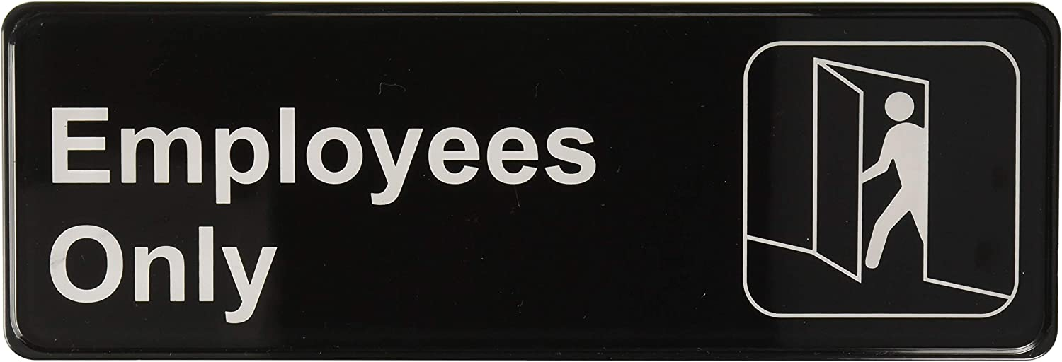 "Thunder Group PLIS9304BK ""Employee Only"" Information Sign with Symbols, 9 by 3-Inch"