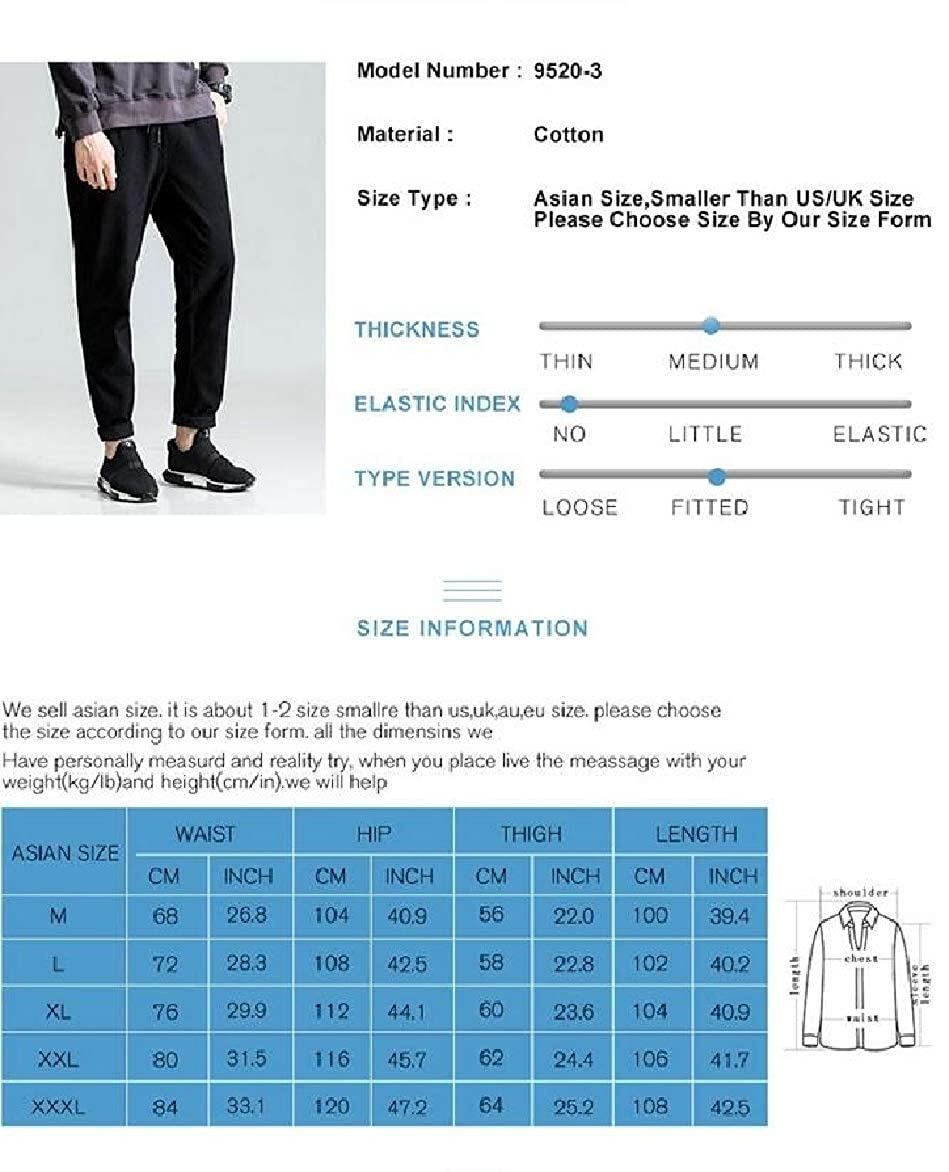 Abetteric Men Elastic Bottom Oversize Juniors Baggy Chino Pants Trousers