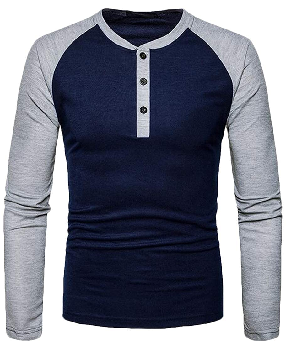 CRYYU Men Casual Cotton Henley Buttons Crewneck Raglan Sleeve Patchwork Tee Top T-Shirts