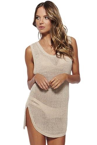 Toocool - Top copricostume donna tricot miniabito maglia trasparente nuovo DL-1640[BEIGE,Taglia unic...