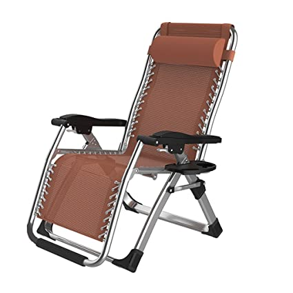 Folding Recliners Chair Office Portable Balcony Elderly Leisure Beach  Accompanying Outdoor Lounger Lunch Siesta Double Alloy